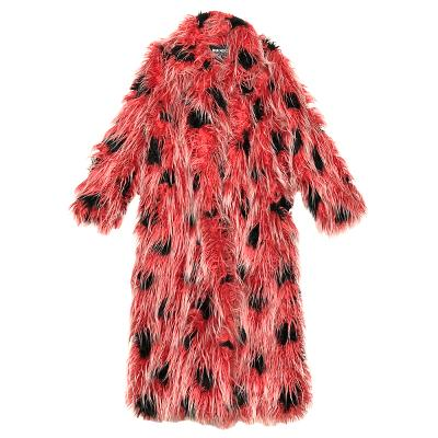 funky patterned fur coat red